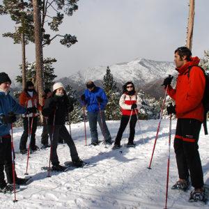 Guia fent una explicació en una excursió amb raquetes de neu
